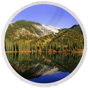 Kananaskis - Autumn Reflections 2 Round Beach Towel by Stuart Turnbull