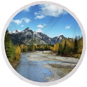Kananaskis River In Fall Round Beach Towel