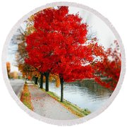 Kanawha Boulevard In Autumn Round Beach Towel