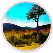 Kancamagus Sunset Round Beach Towel