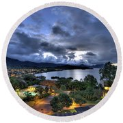 Kaneohe Bay Night Hdr Round Beach Towel