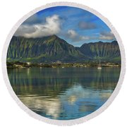 Kaneohe Bay Oahu Hawaii Round Beach Towel