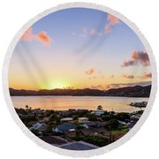 Kaneohe Bay Sunrise 1 Round Beach Towel