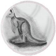 Kangaroo Drawing Round Beach Towel