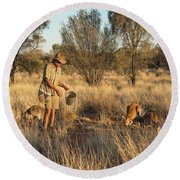 Kangaroo Sanctuary Round Beach Towel