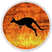 Kangaroo Sunset Round Beach Towel