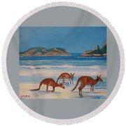 Kangaroos On The Beach Round Beach Towel