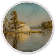 Round Beach Towel featuring the photograph Kanoni, Corfu, Greece - Vlacherna Monastery And Pontikonisi by Mark Forte