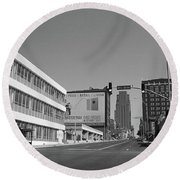 Round Beach Towel featuring the photograph Kansas City - 18th Street Bw by Frank Romeo