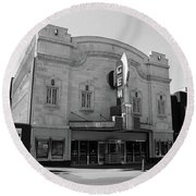 Round Beach Towel featuring the photograph Kansas City - Gem Theater Bw by Frank Romeo