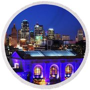 Kansas City Skyline At Night Round Beach Towel