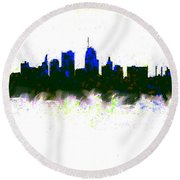 Kansas City Skyline Blue  Round Beach Towel by Enki Art