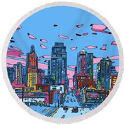 Kansas City Skyline Panorama 4 Round Beach Towel