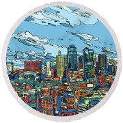 Kansas City Skyline Panorama Round Beach Towel