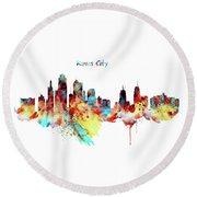 Kansas City Skyline Silhouette Round Beach Towel