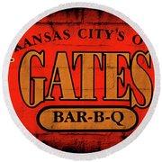 Kansas City's Own Gates Bar-b-q Round Beach Towel