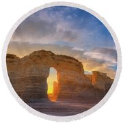 Round Beach Towel featuring the photograph Kansas Gold by Darren White
