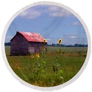 Kansas Landscape Round Beach Towel