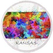 Kansas Map Color Splatter Round Beach Towel