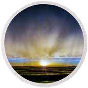 Kansas Storm Chase Bust Day 005 Round Beach Towel