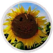 Kansas Sunflower Round Beach Towel