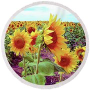 Kansas Sunflowers Round Beach Towel