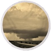 Round Beach Towel featuring the photograph Kansas Twister - Sepia by Ed Sweeney