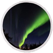 Kantishna Northern Lights In Denali National Park Round Beach Towel by Brenda Jacobs