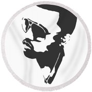 Kanye West Silhouette Round Beach Towel by Dan Sproul