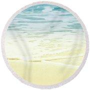 Round Beach Towel featuring the photograph Kapalua Beach Dream Colours Sparkling Golden Sand Seafoam Maui by Sharon Mau