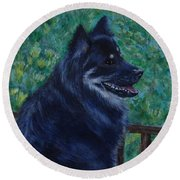 Round Beach Towel featuring the painting Kapu by Amelie Simmons