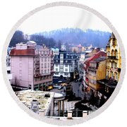 Round Beach Towel featuring the photograph Karlovy Vary Cz by Michelle Dallocchio
