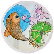 Karp And Cherry Blooms Round Beach Towel