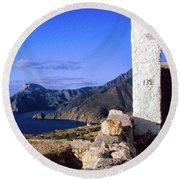 Round Beach Towel featuring the photograph Karpathos Island Greece by Silvia Ganora