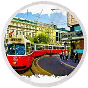 Kartner Strasse - Vienna Round Beach Towel by Tom Cameron