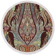 Kashmir Elephants - Vintage Style Patterned Tribal Boho Chic Art Round Beach Towel by Audrey Jeanne Roberts