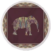 Round Beach Towel featuring the painting Kashmir Patterned Elephant 2 - Boho Tribal Home Decor  by Audrey Jeanne Roberts