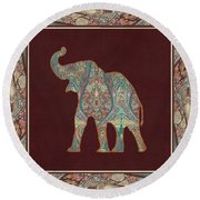 Kashmir Patterned Elephant 3 - Boho Tribal Home Decor Round Beach Towel by Audrey Jeanne Roberts