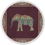 Round Beach Towel featuring the painting Kashmir Patterned Elephant - Boho Tribal Home Decor  by Audrey Jeanne Roberts