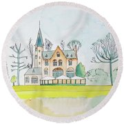 Kasteel Restaurant, Minnewater, Bruges Round Beach Towel