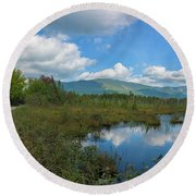 Katahdin In The Clouds Round Beach Towel
