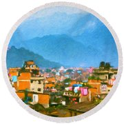 Round Beach Towel featuring the painting Kathmandu, Nepal by Chris Armytage