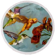 Kathy's Humming Birds Round Beach Towel