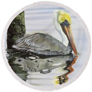 Kathy's Pelican Round Beach Towel by Phyllis Beiser