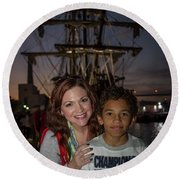 Round Beach Towel featuring the photograph Katy And Baby James Art by Reid Callaway