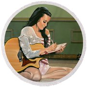 Katy Perry Painting Round Beach Towel