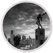 Katyn New World Trade Center In New York Round Beach Towel