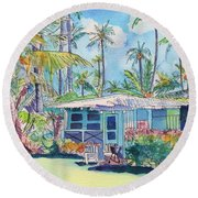Kauai Blue Cottage 2 Round Beach Towel