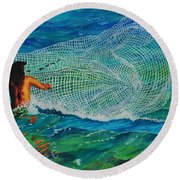 Kauai Fisherman Round Beach Towel