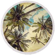 Kauai Island Palms - Blue Hawaii Photography Round Beach Towel by Melanie Alexandra Price